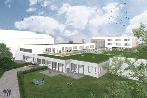 So soll das gesamte Gebäude nach Fertigstellung im Jahr 2020 aussehen. Die Ansicht ist aus der Vogelperspektive über dem Zugang zu Bauteil B (jetziger PNMS Zugang). Den derzeit entstehenden Bauteil A sieht man im Hintergrund.